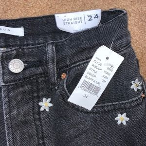 PacSun Jeans - Pacsun black jeans with sunflowers on them